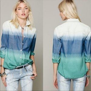 Free People Blue Before Sunrise Shirt Top Ombre